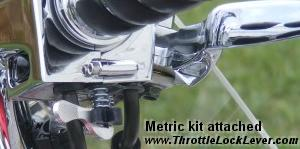 Throttle Lock Cruise Control Kit for Metric Motorcycles shown attached.